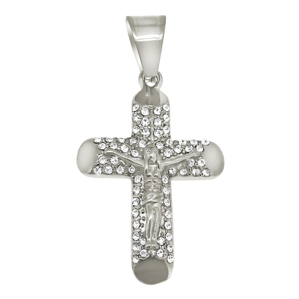 Log Cross Crucifix Stainless Steel Pendant