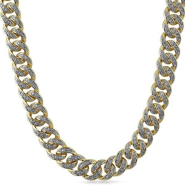 .925 Sterling Silver CZ 13MM Cuban Chain Gold