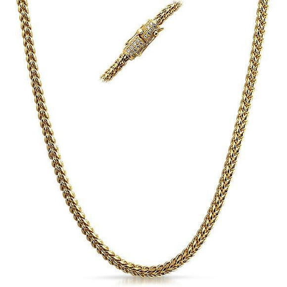 Real Diamond Stainless Steel Gold Hip Hop Chain 4MM