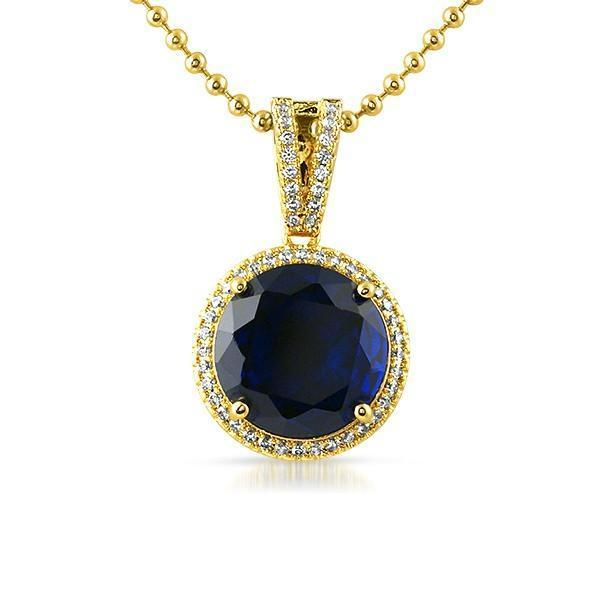 Lab Sapphire Round Gem .925 Silver Pendant (Free 36 Inch Bead Chain)