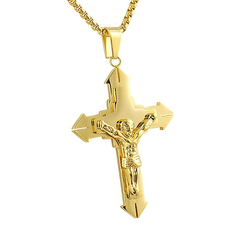 Large Pointed Crucifix Pendant Gold Stainless Steel