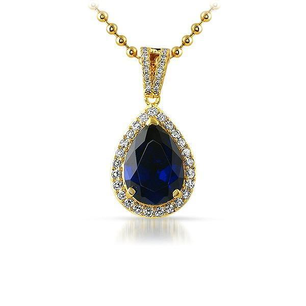 .925 Silver Blue Pear Cut Gem Iced Out Gold Pendant