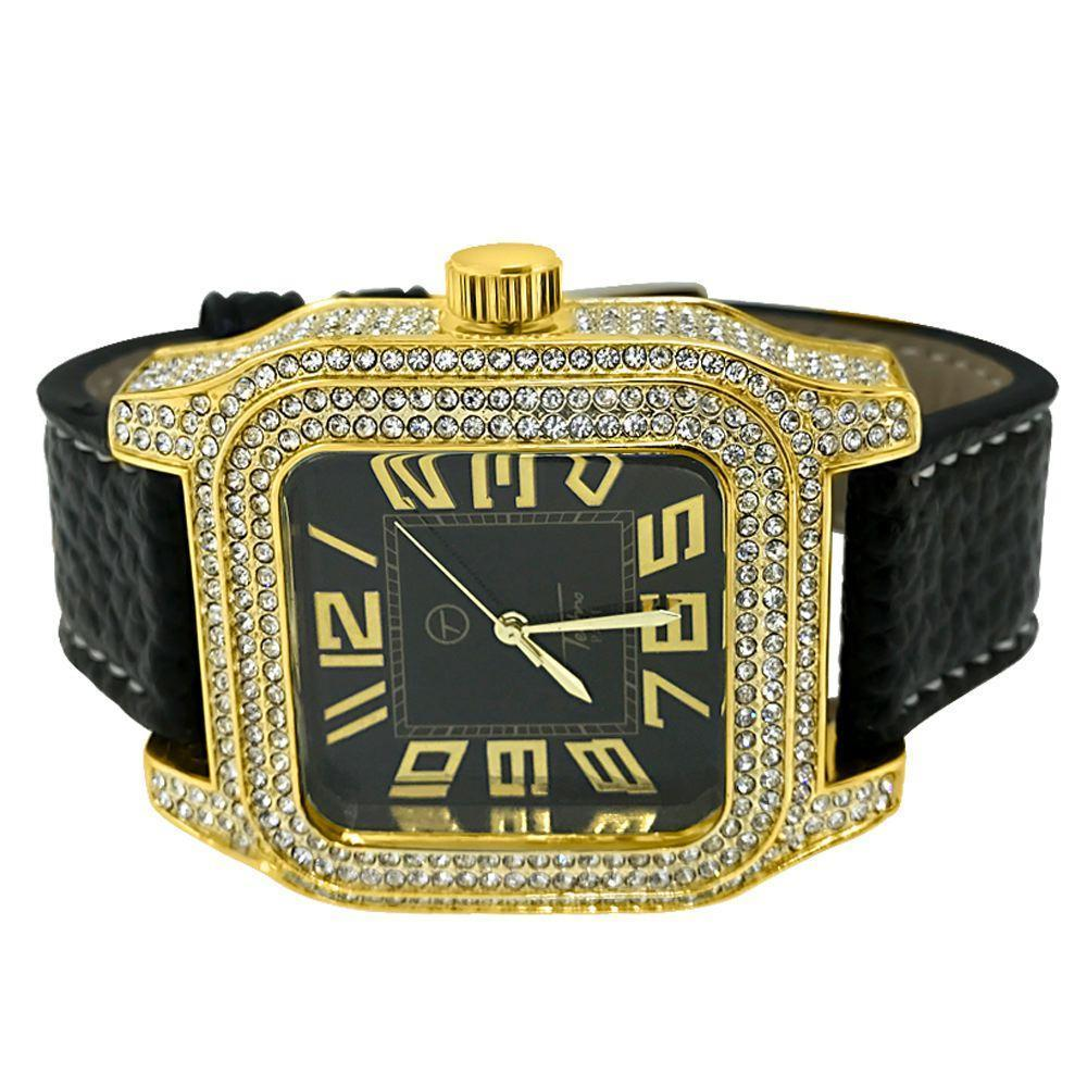 Square Block Gold Black Dial Bling Hip Hop Watch