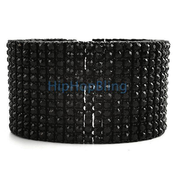12 Row Iced Out Bracelet Black on Black 600+ Stones