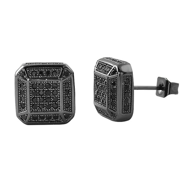 3D Smooth Box Black CZ Micro Pave Bling Earrings