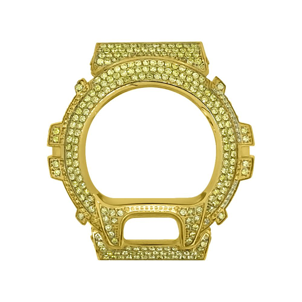 Canary CZ Gold Stainless Steel Bezel Case For Casio G Shock DW6900