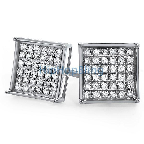 .25ct Diamond Box Micro Pave Earrings .925 Silver