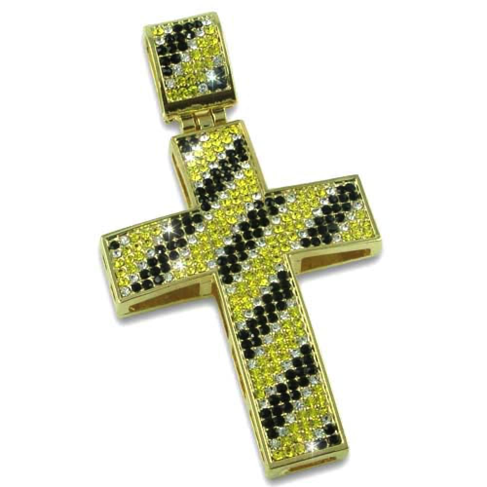 Diagonal Black White  Canary Gold Cross