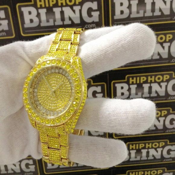 Chrono Custom Rhodium Hip Hop Watch