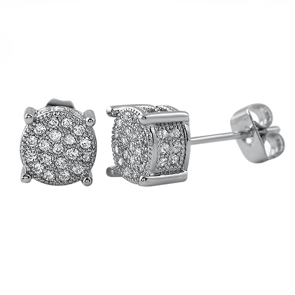 360 Round Rhodium CZ Micro Pave Earrings