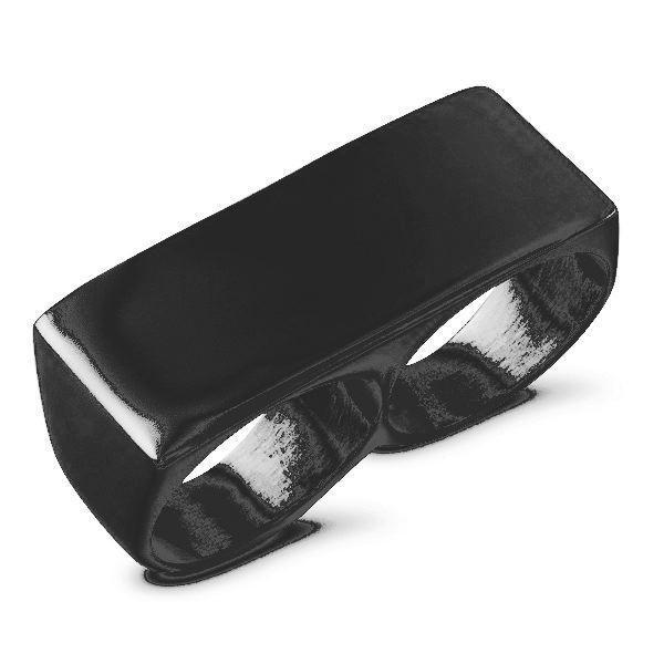 2 Finger Ring Black Stainless Steel