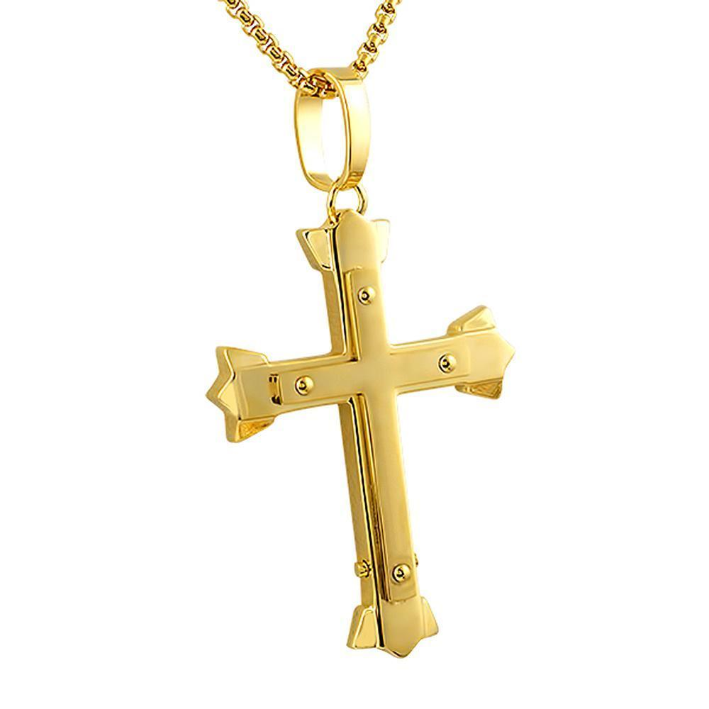 Trident Cross Pendant Gold Stainless Steel