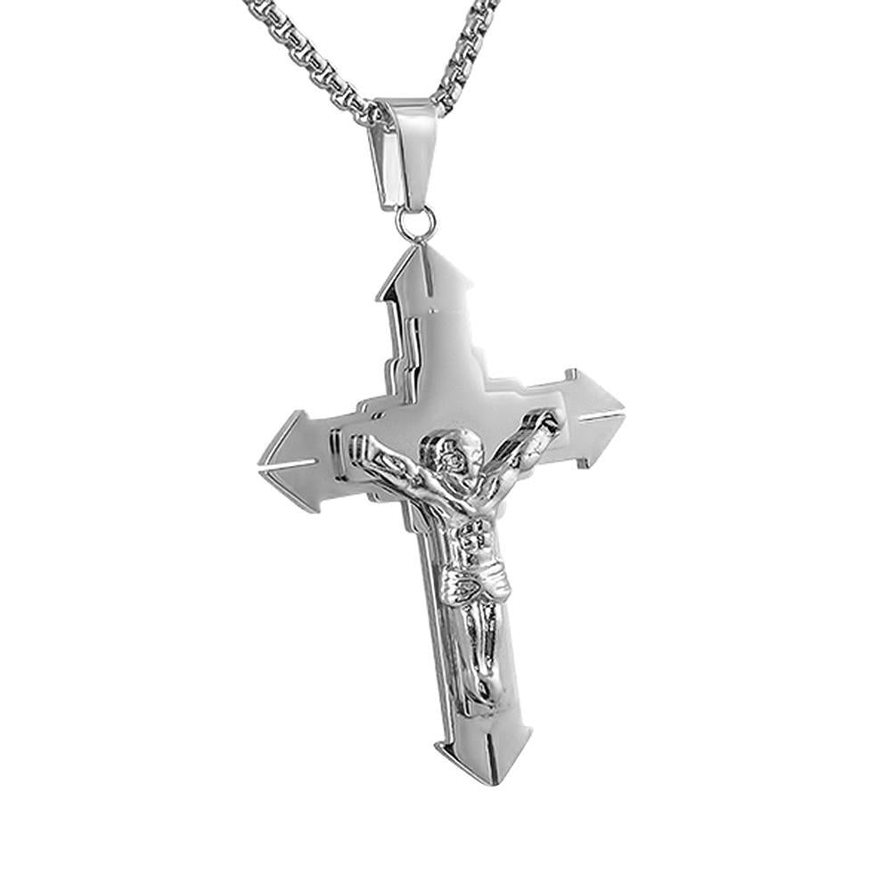 Large Pointed Crucifix Pendant Stainless Steel