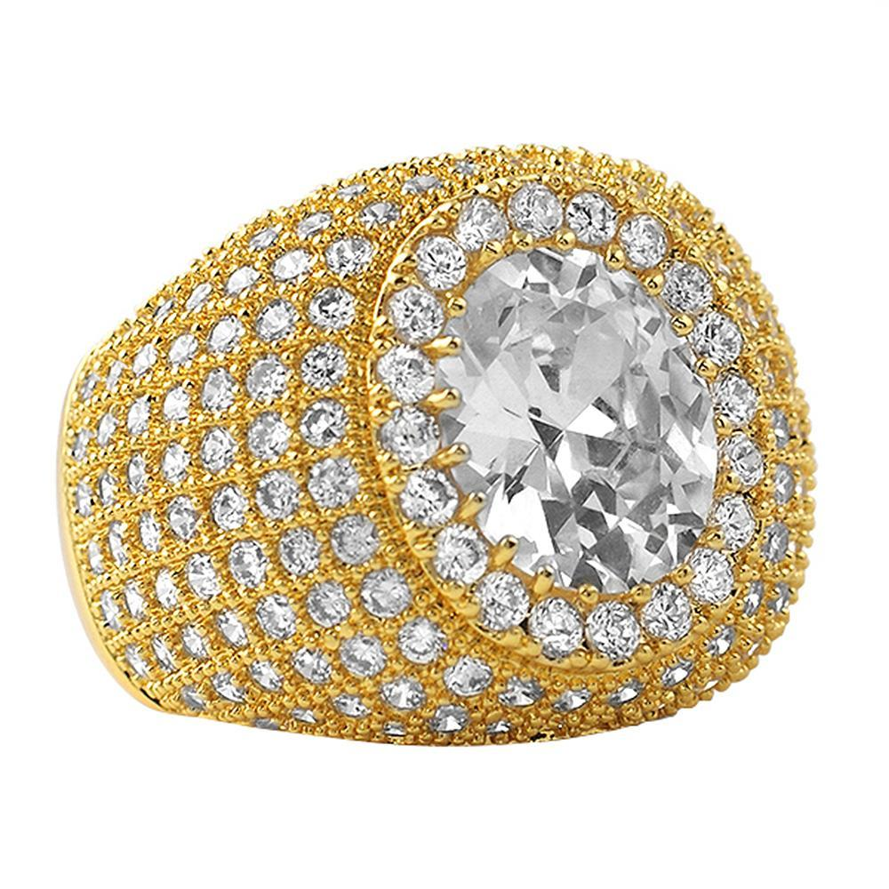 Masterpiece Gold CZ Bling Bling Ring