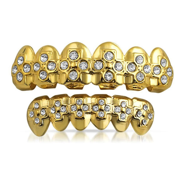 Gold Hip Hop Grillz Cross Teeth Set