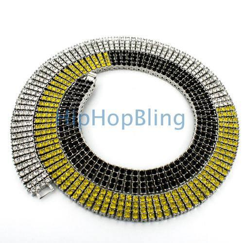 Bling Bling Chain 4 Rows of Ice Black Yellow & White