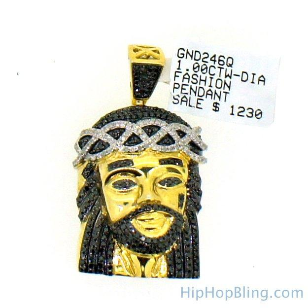 Black & White Diamond 1.00cttw Vermeil Gold Jesus Pendant