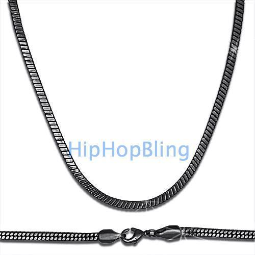 4mm Square Snake 3D Black Hip Hop Chain