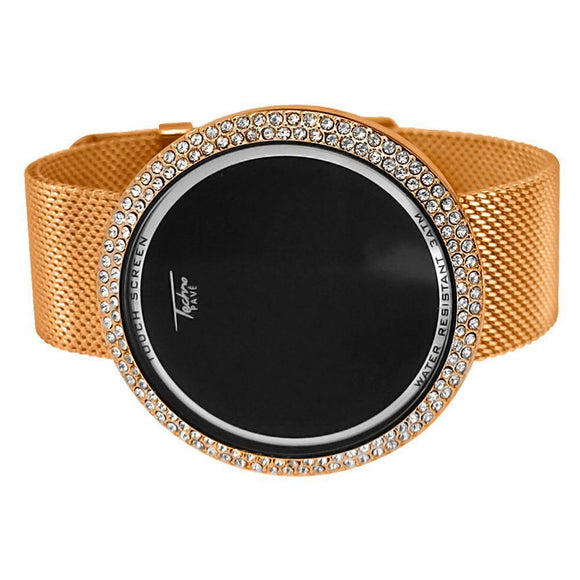 Bling Bling Rose Gold Mesh Band Round LED Touch Screen Watch