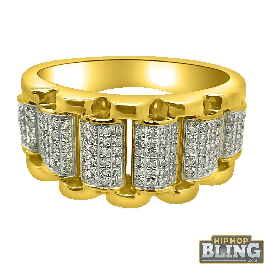 Presidential Link Ring 10K Yellow Gold .35cttw Diamonds
