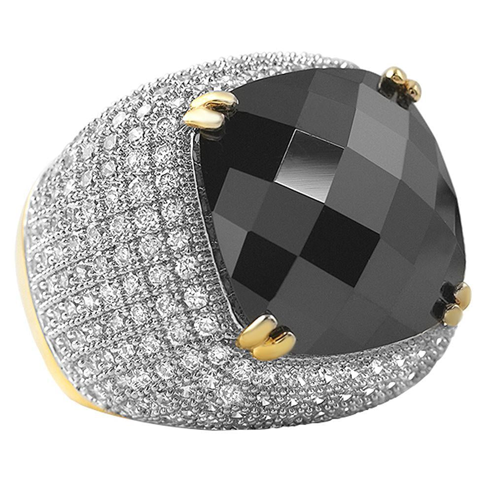Black Rose Cut CZ Gold Bling Bling Ring