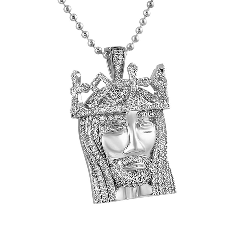 3D Crown Mini Detailed Jesus Rhodium Pendant