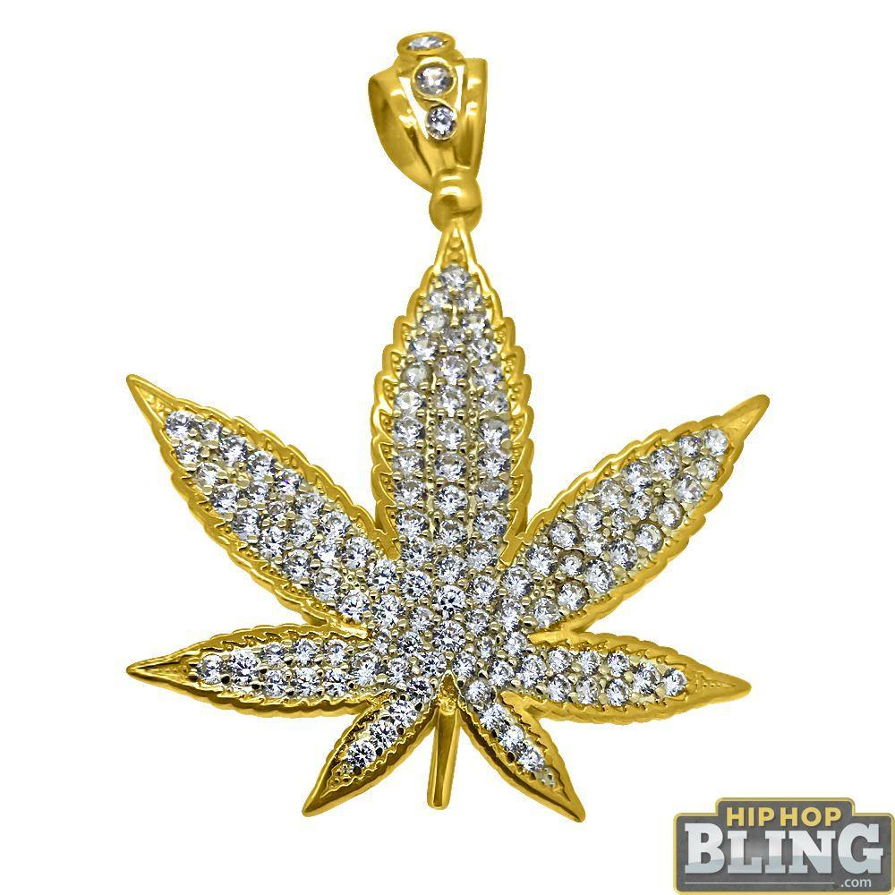 10K Yellow Gold CZ Marijuana Pot Leaf 420 Pendant
