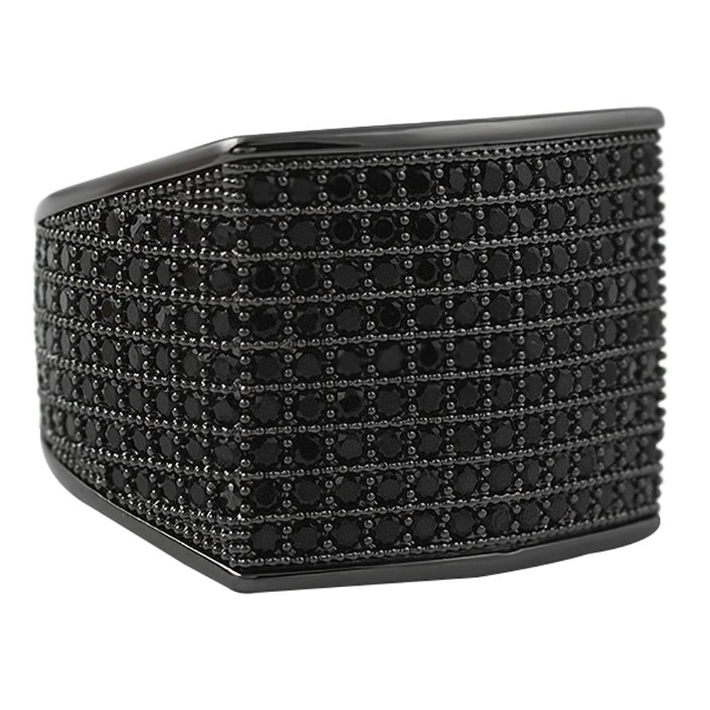 Thick Block Black CZ Bling Bling Ring