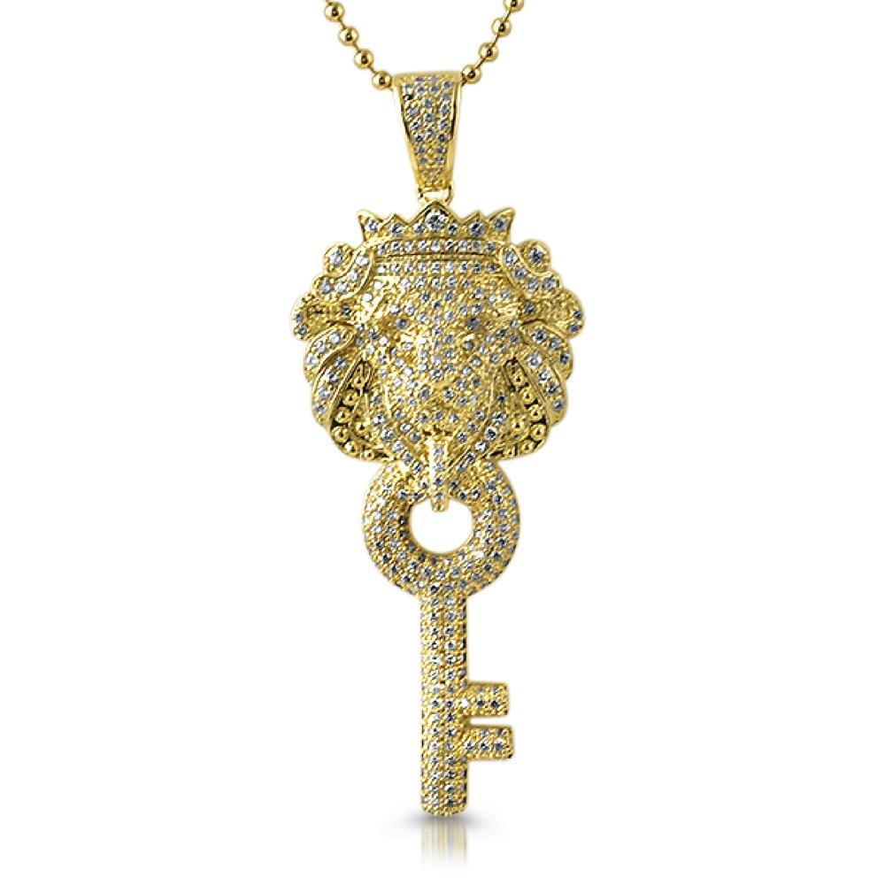 Chinese Lion Key CZ Gold Iced Out Pendant