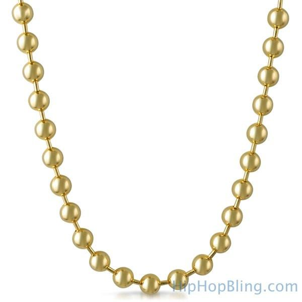 8MM Gold Bead Hip Hop Chain