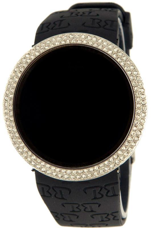 Silver Bling Bling Touch Screen Digital Watch Black Band