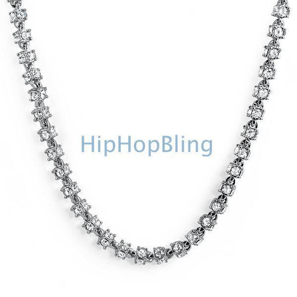 3D Bling Bling Rhodium Chain