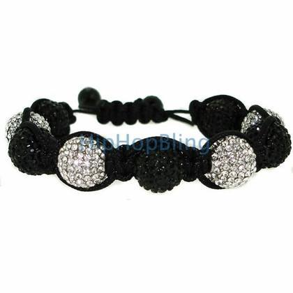 14mm 9 Ball Jumbo Black & White Disco Ball Bling Bling Bracelet