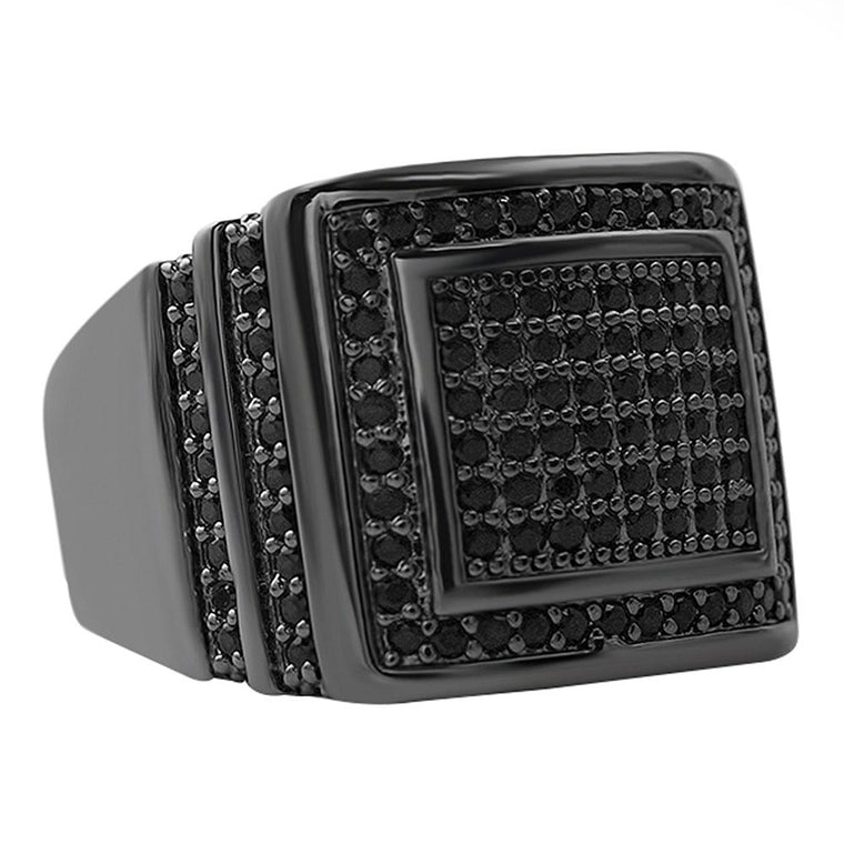 Step Up Black CZ Iced Out Ring
