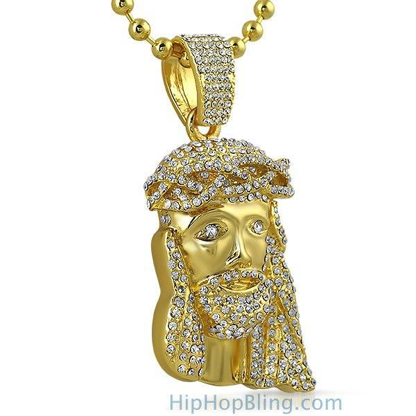 New Gold Jesus Piece 3D Crown Rosary Necklace