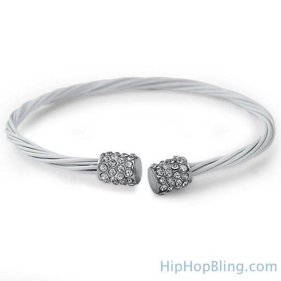 All White Bling Bling Guitar String Style Bracelet