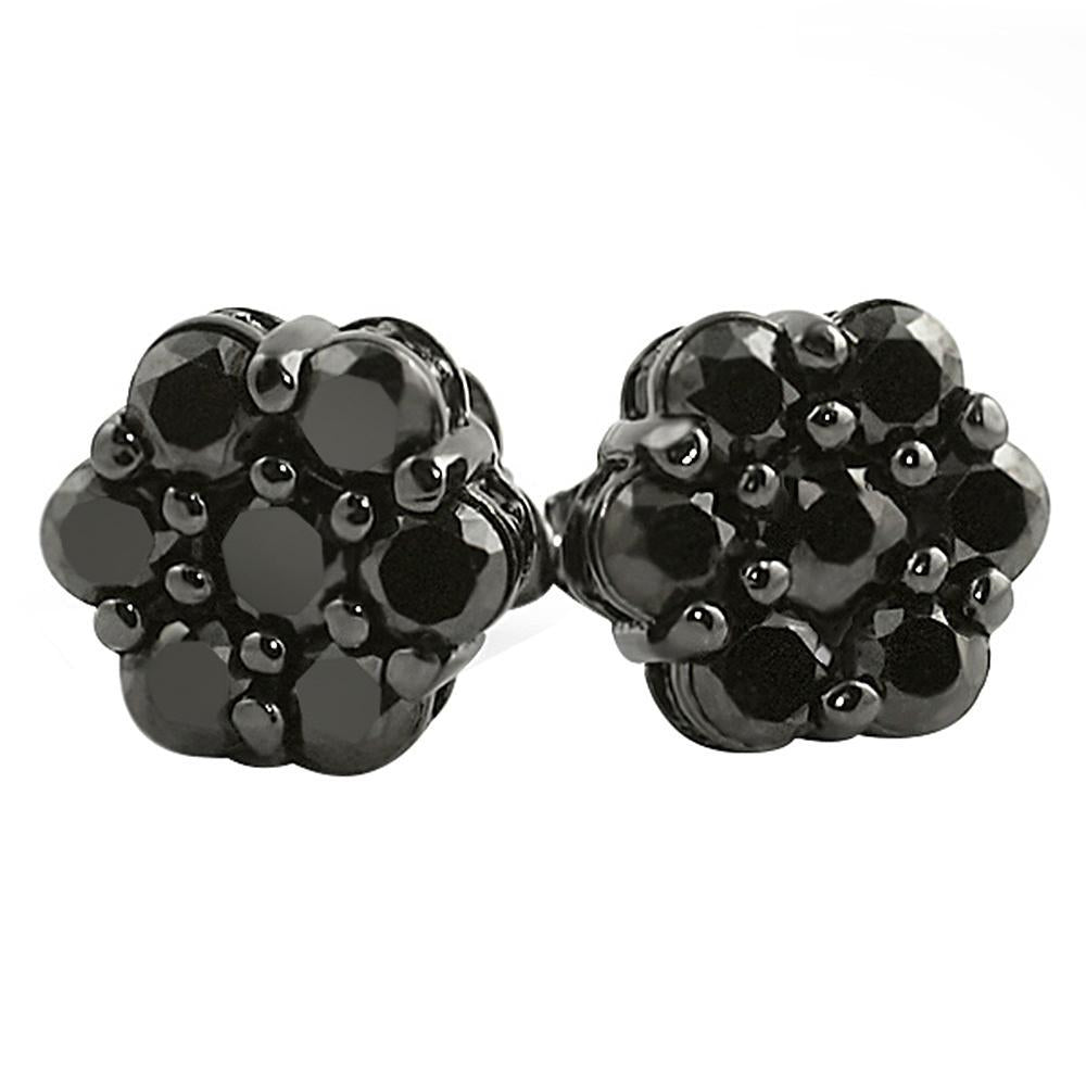 Bling Bling CZ Cluster Black Micro Pave Earrings