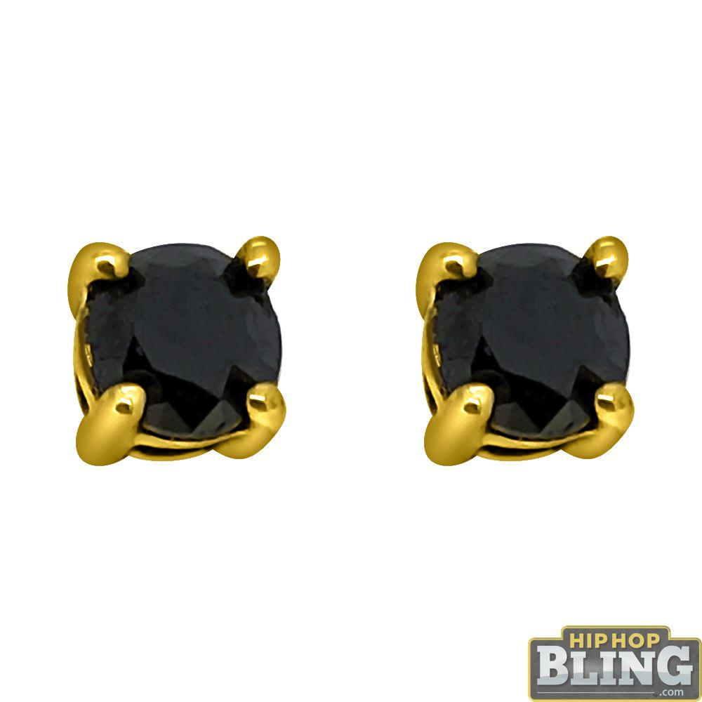 .75 Carat Black Diamond Stud Earrings Gold .925