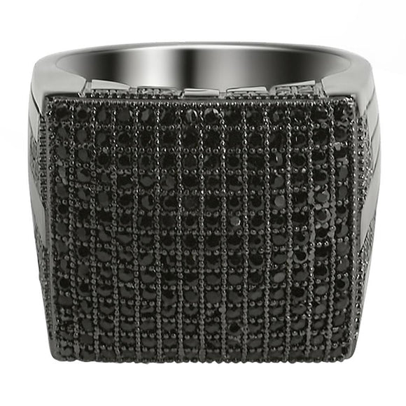 XL Mega Icey Black CZ Micro Pave Bling Bling Ring