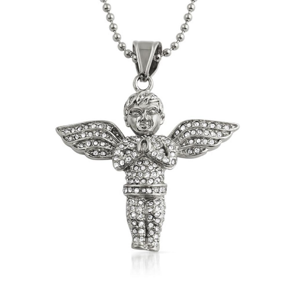 Praying Cherub Angel Pendant Stainless Steel