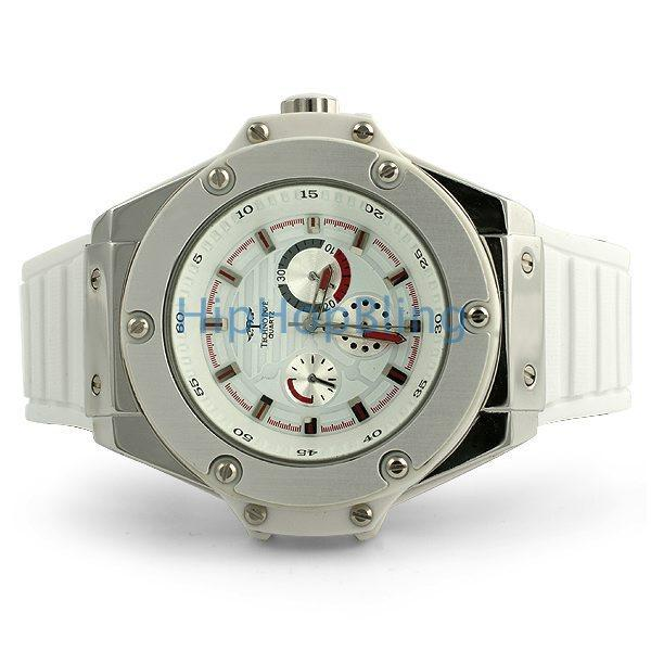 Big Solid Silver Watch White Band