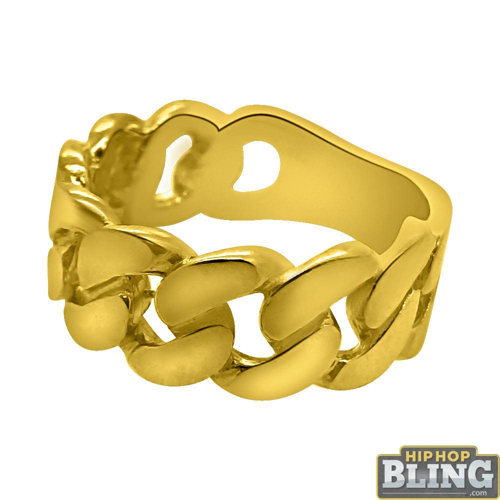 10K Gold Cuban Link Mens Ring