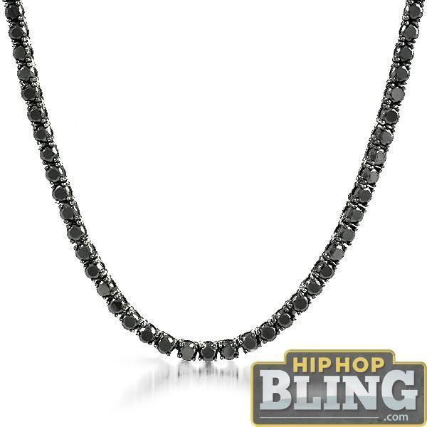 .925 Silver Black CZ 3MM Bling Bling Tennis Chain