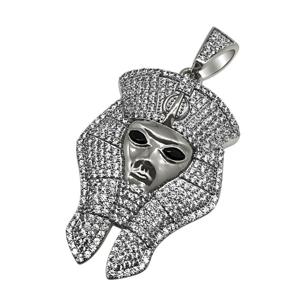 .925 Silver Pharaoh Rhodium CZ Bling Bling Pendant (Free 36 Inch Bead Chain)