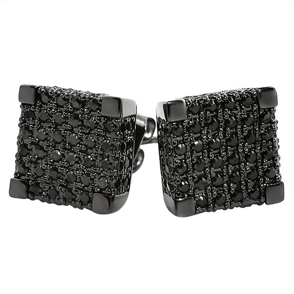 Black Large 3D Cube CZ Earrings
