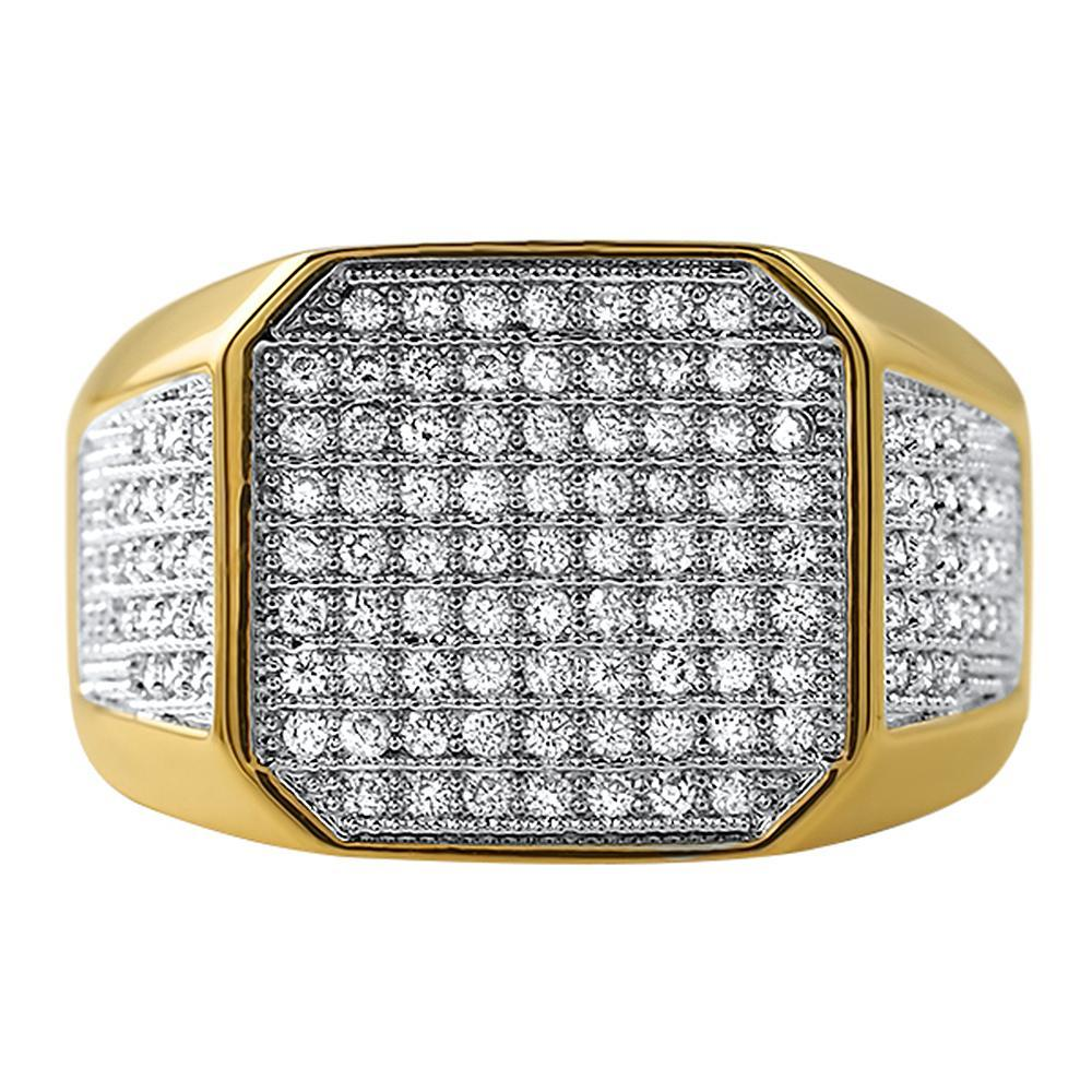 Gold Boss CZ Micro Pave Bling Bling Ring