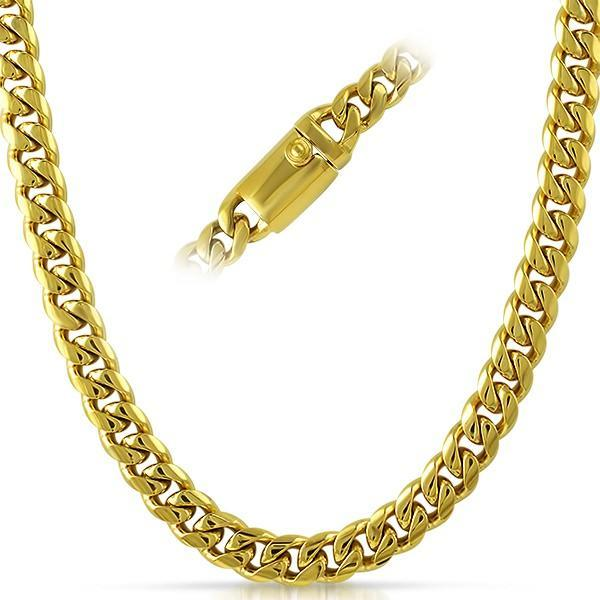 IP Gold 9MM Miami Cuban Chain 316L Steel Chain Box Clasp