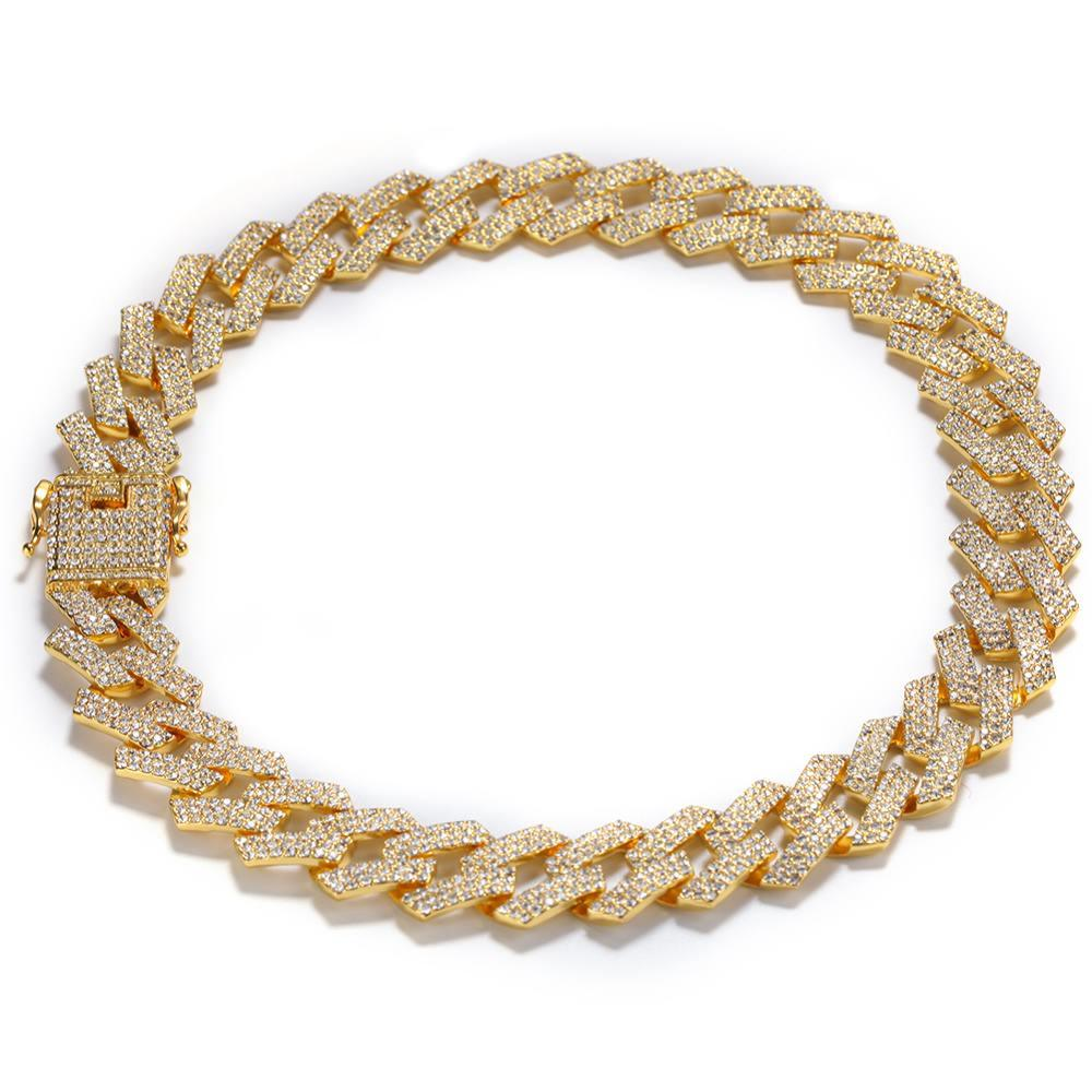 Yellow Gold 20MM Sharp Cuban Bling Bling Chain