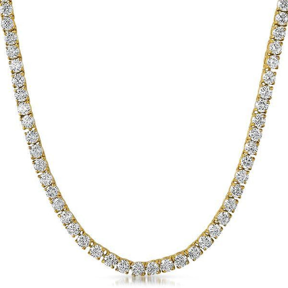 Gold Steel 1 Row 4MM CZ Tennis Chain