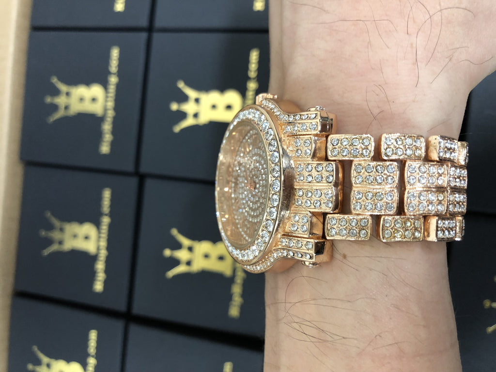 Amazing Bling Bling Rose Gold Hip Hop Watch